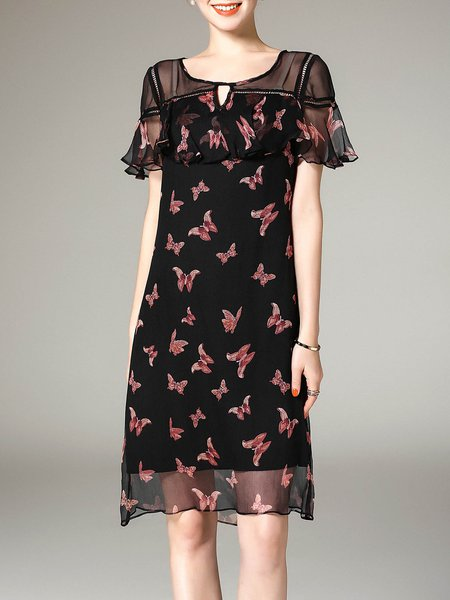Butterfly Print Casual A-line Keyhole Frill Sleeve Midi Dress