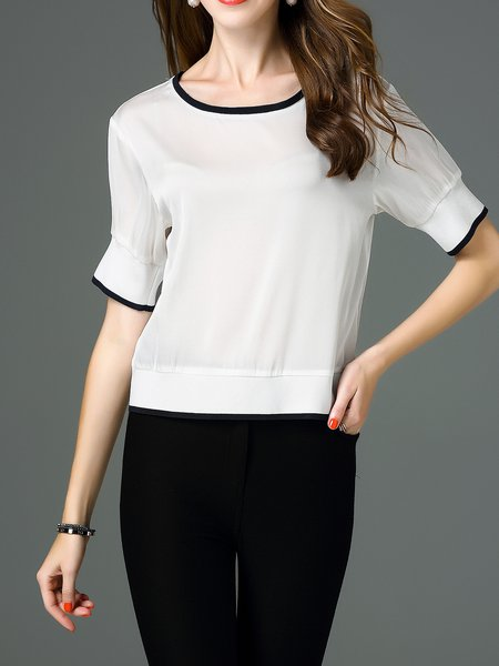 White Casual Binding H-line Silk Shorts Sleeved Top