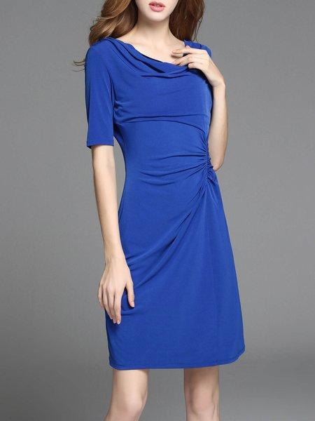 Sheath Folds Simple Short Sleeve Midi Dress