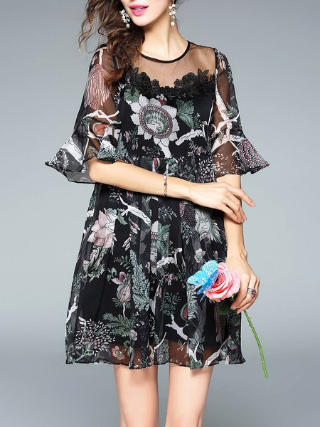 Tulle Floral-print Bell Sleeve Casual Mini Dress