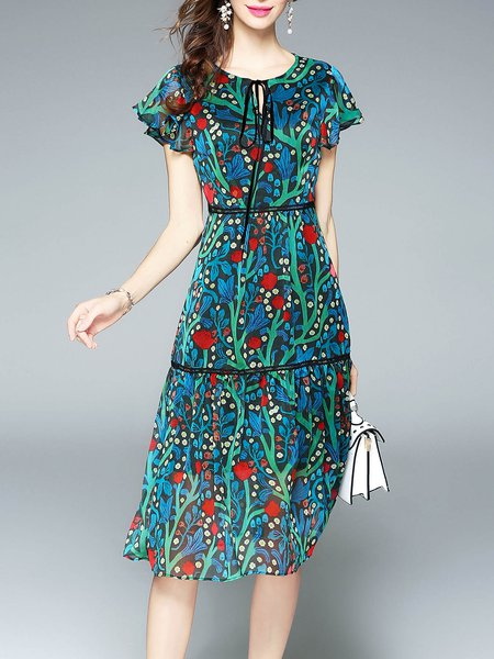 Floral Green Frill Sleeve Keyhole Printed Midi Dress