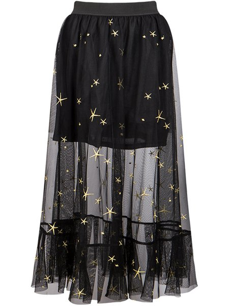 Black Casual Embroidered A-line See Through Tulle Maxi Skirt ...