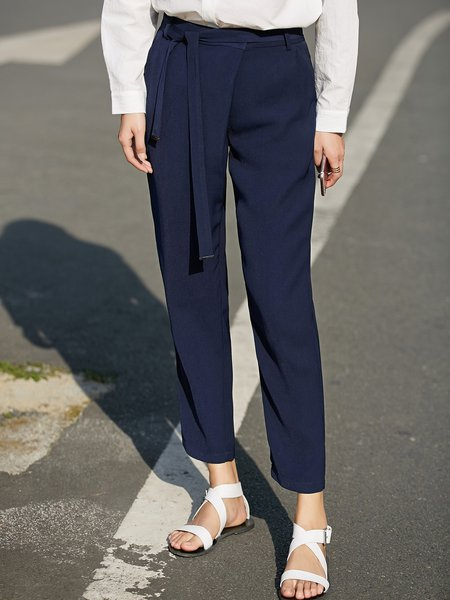 Solid Casual Pockets Straight Leg Pant