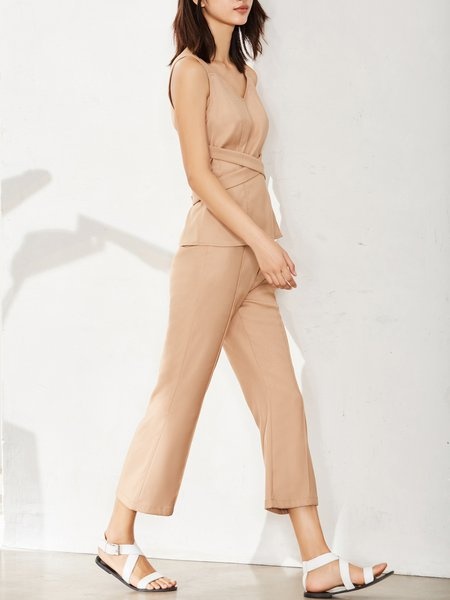 Two Piece Solid V Neck Spaghetti Jumpsuit