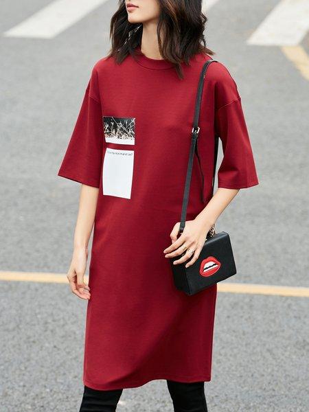 Plus Size Simple Abstract Half Sleeve Midi Dress