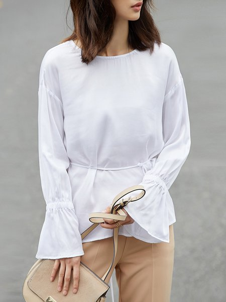 Simple Chiffon Bateau/boat Neck Long Sleeve Solid Blouse
