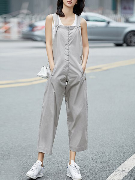Sleeveless Casual Square Neck Pockets Cotton Jumpsuit