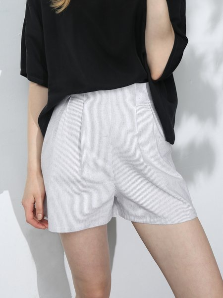 Casual Solid Linen Pockets Short
