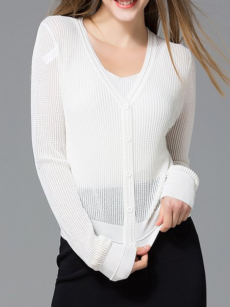 Long Sleeve Pierced Casual Cardigan