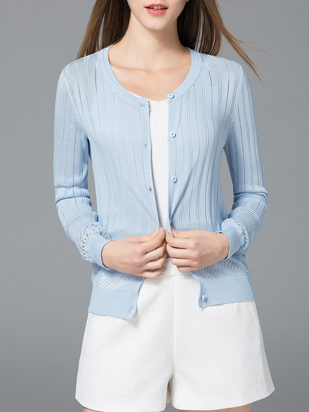 Cotton Knitted Long Sleeve Solid Casual Cardigan