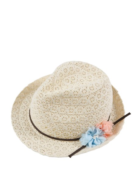Beige Contrast Girly Flower Bow Tie Hat