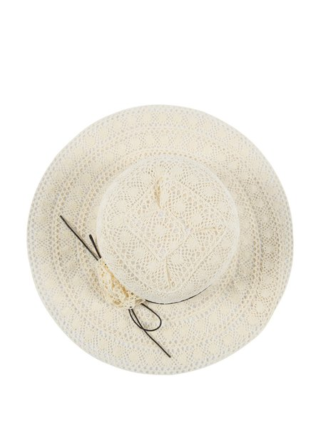 Beige Girly Bow Tie Pierced Solid Hat