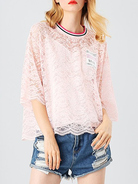 Sheer Casual 3/4 Sleeve Pierced Guipure Lace Blouse