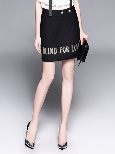 Plus Size Black Sheath Embroidered Casual Letter Mini Skirt