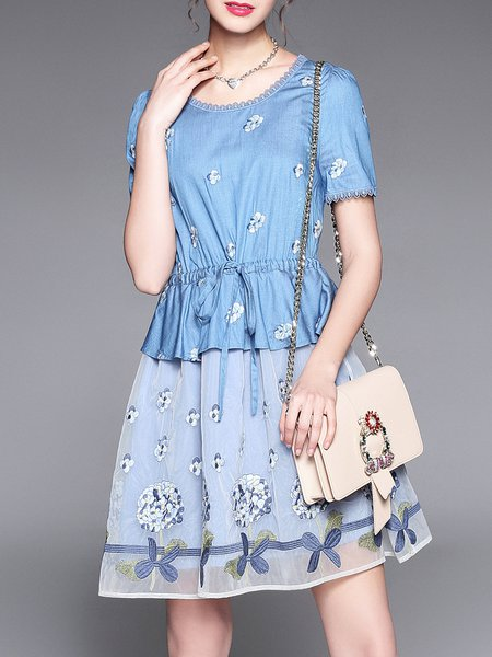 Plus Size Blue Shorts Sleeve Floral-embroidered A-line Mesh Denim Midi Dress