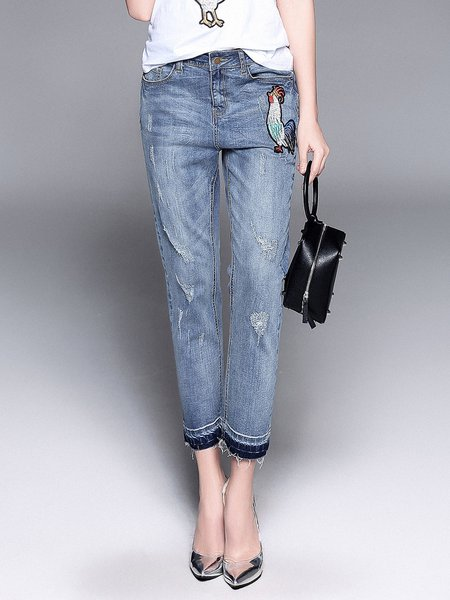 Blue Basic Embroidered Jeans