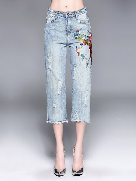 Blue Basic Floral-embroidered Jeans