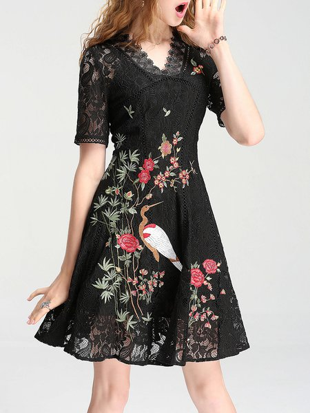 Black Lace Shorts Sleeve Floral Embroidered Mini Dress