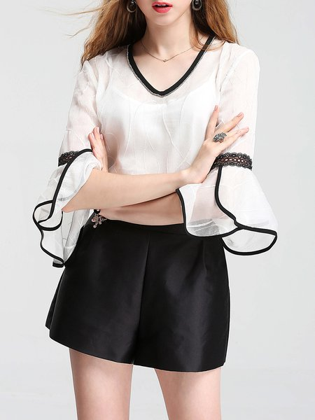 White Bell Sleeve Eyelet Tops With Camis
