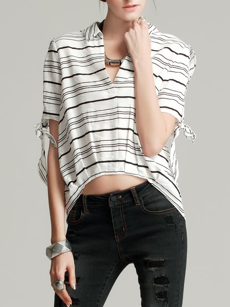 Black-white Batwing Striped High Low Cropped Top