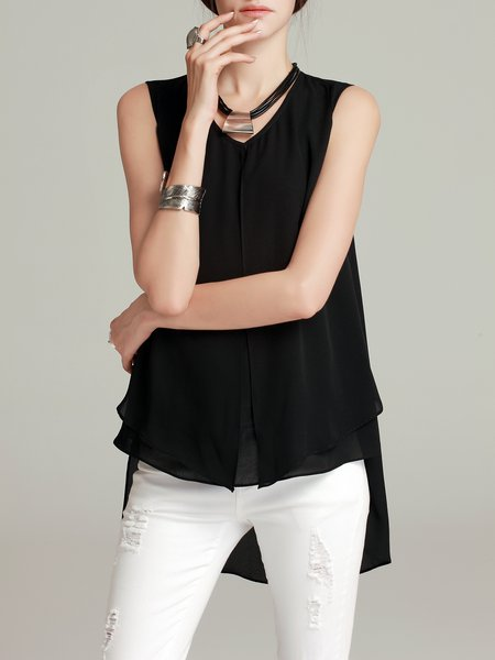 Chiffon Sleeveless Crew Neck Casual High Low Tanks