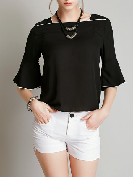 Bell Sleeve Casual Solid Tops