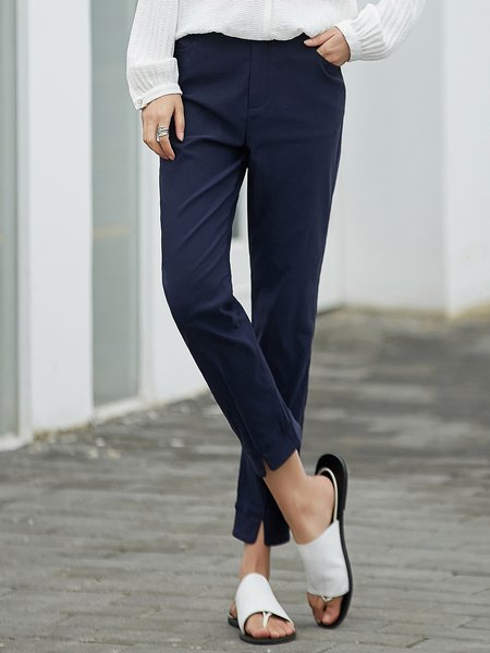Casual Buttoned Straight Leg Pants