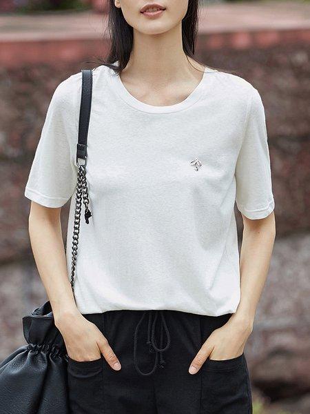 White H-line Cotton Crew Neck Simple T-Shirt