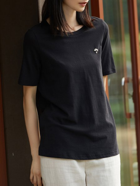 H-line Simple Short Sleeve Cotton Crew Neck T-Shirt