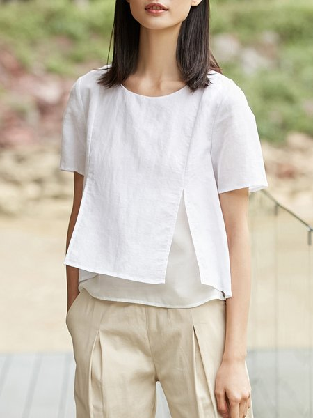 Plus Size Casual Linen Shorts Sleeve Slit Shorts Sleeved Top