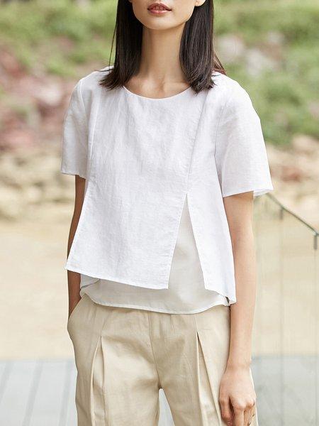 Casual Linen Short Sleeve Slit Short Sleeved Top
