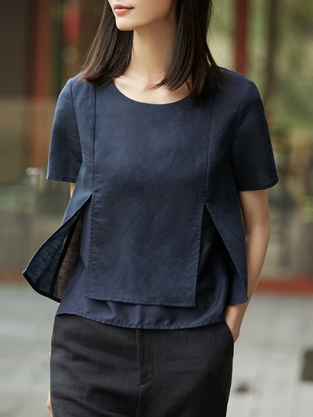 Dark Blue Cotton Short Sleeve Short Sleeved Top