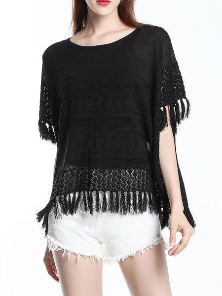 Black Short Sleeve Knitted Short Sleeved Top