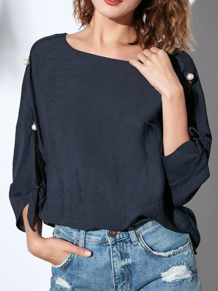 Navy Blue Buttoned Casual Viscose Short Sleeved Top