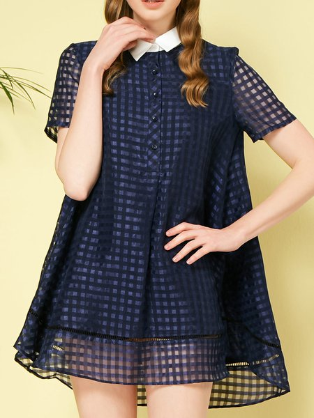 Checkered/Plaid Short Sleeve Shirt Collar Casual Organza Shirt Dress