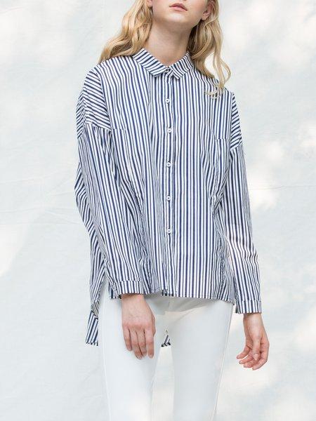 Plus Size Blue-white Stripes Asymmetric Shirt Collar Long Sleeve Blouse