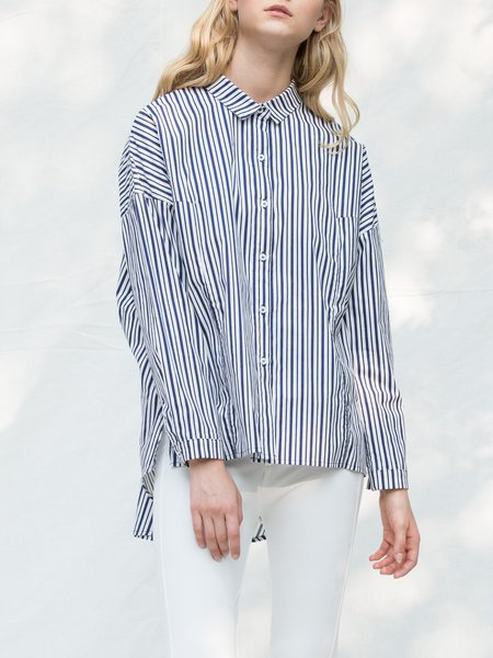 Blue-white Stripes Asymmetric Shirt Collar Long Sleeve Blouse