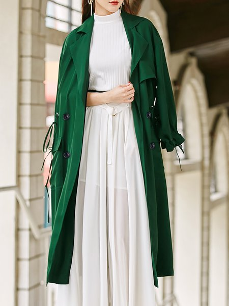 Green Half Sleeve Plain Trench Coat