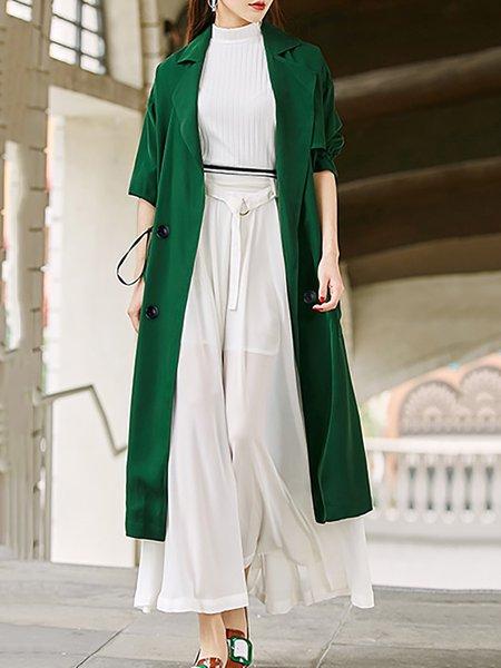 Green Half Sleeve Plain Trench Coat