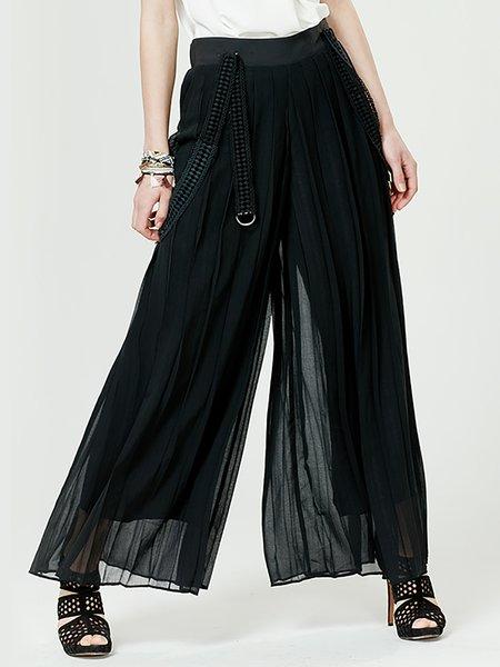 Black Chiffon Culottes Pants