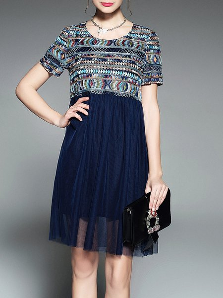 Paneled Blue Cotton-blend Embroidery Short Sleeve Midi Dress