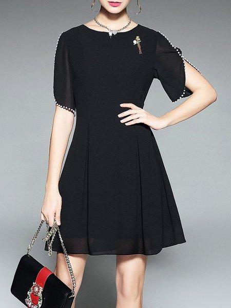 Embellished Beaded Half Sleeve A-line Mini Dress