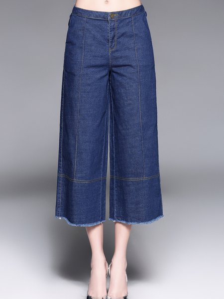Blue Fringed Casual Denim Solid Wide Leg Jeans