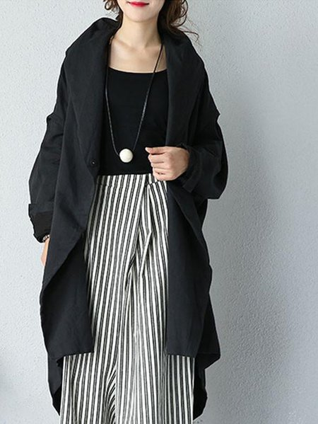 Black Cotton Solid Shawl Collar Linen Outerwear
