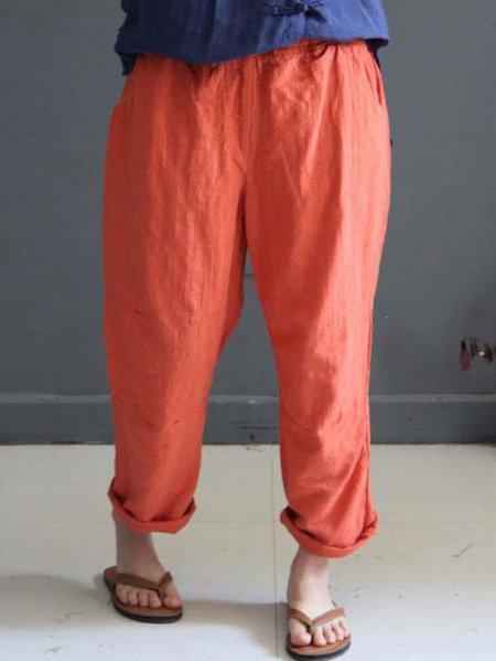 Orange Solid Casual Linen Bottom
