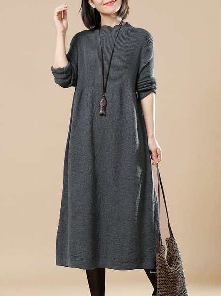 Solid Long Sleeve Casual Knitted Linen Dress