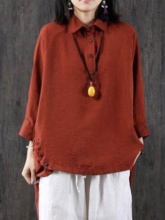 Red Solid Shirt Collar Casual High Low Linen Top