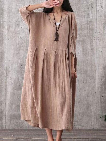 Brown V Neck Shift 3/4 Sleeve Linen Dress