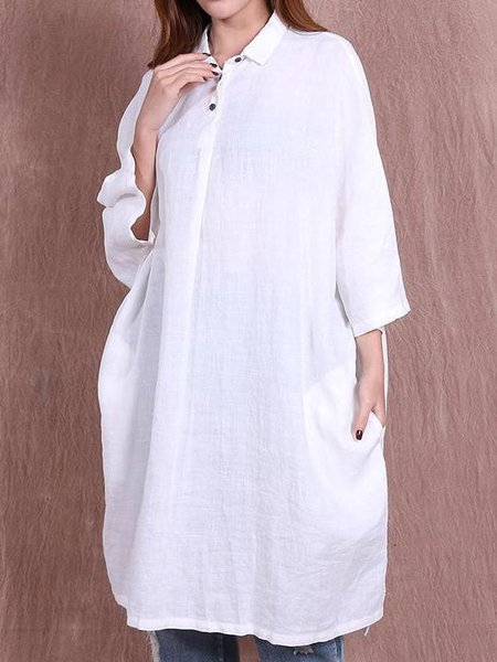 Long Sleeve Cotton Slit Solid Casual Linen Top