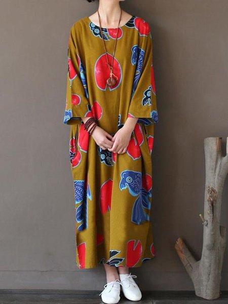 Yellow Crew Neck Batwing Cotton Printed Linen Dress